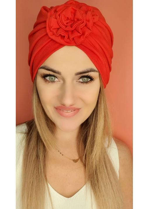 Czapka Turban czerwony kwiat
